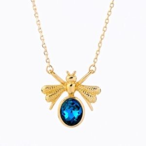 gold bee rhinestone chain necklace